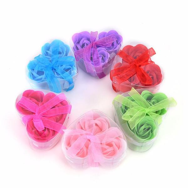 3Pcs duftende Rosen-Blumen-Blumenblatt-Bad-Körper-Seifen-Hochzeitsfestgeschenk für Ihren guten Freund