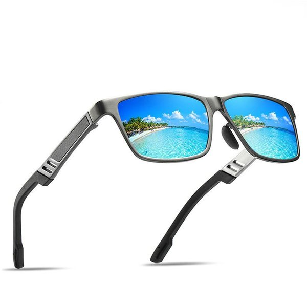 Men's Aluminum Magnesium Alloy Mirror Frame Sports Beach Polarizing Sunglasses Spring Legs Dazzling Film Driving Fishing Glasses + Box
