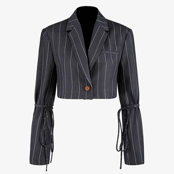 TVVOVVIN Tide remiendo rayado vendaje gris chaqueta de la manera delgado de la vendimia con muesca collar solo pecho corta de la capa superior de Nueva F730