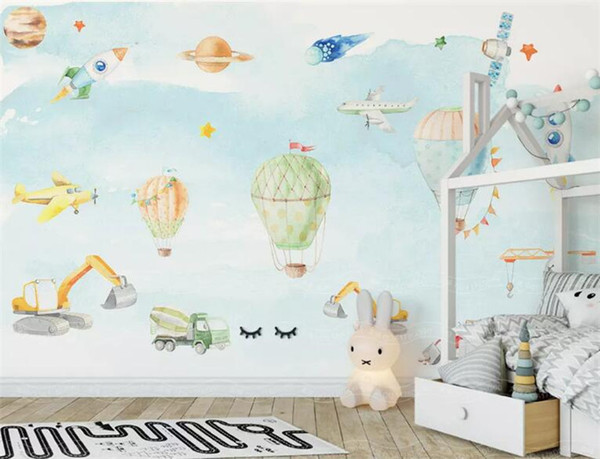 North European Simple 3D Hand Painted Plane Wallpaper For Kids Room Boys  Girl Bedroom Wall Decor Space Non Woven Wall Paper Hd Free Wallpaper Hd  Free ...