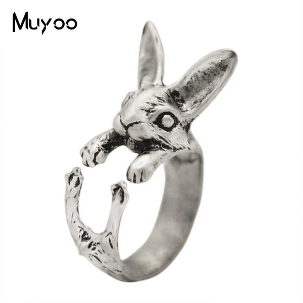 2019 neue Kaninchen Ring Vintage Alte Silber Niedlichen Tier Ringe Alte Bronze Persönlichkeit Paar Geburtstagsgeschenk