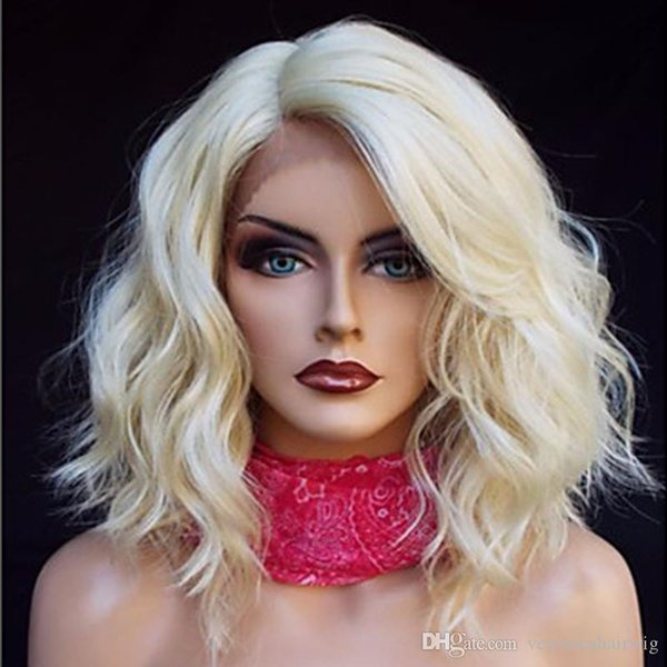Heat Resistant 613# Blonde Short Bob Curly Wavy Synthetic Hair Wigs Natural Hairline Gluelese Synthetic Lace Front Wigs for black women