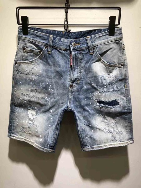 The New Fashionable Coated Hot Summer 2019 Boutique Men's High-quality Leisure Cowboy Shorts Hole Male Elastic Shorts Men Casual Jeans