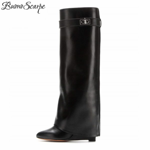 2019 Lock Women Wedge Black Fold Knee High Heel Boots Pointed Toe Long Boots Female Wedges Heel Botas Bigsize