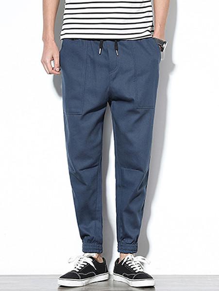 2019 Hemiks Men Patch Pockets Drawstring Joggers Pants Cotton