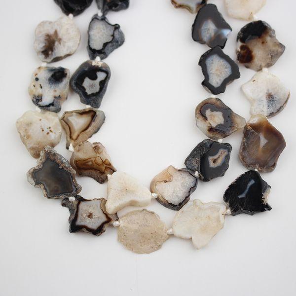 Natural Agates Stones Beads Bulk Strand,Drilled Raw Stones Slab Slice Loose Charms Bracelet Pendants DIY