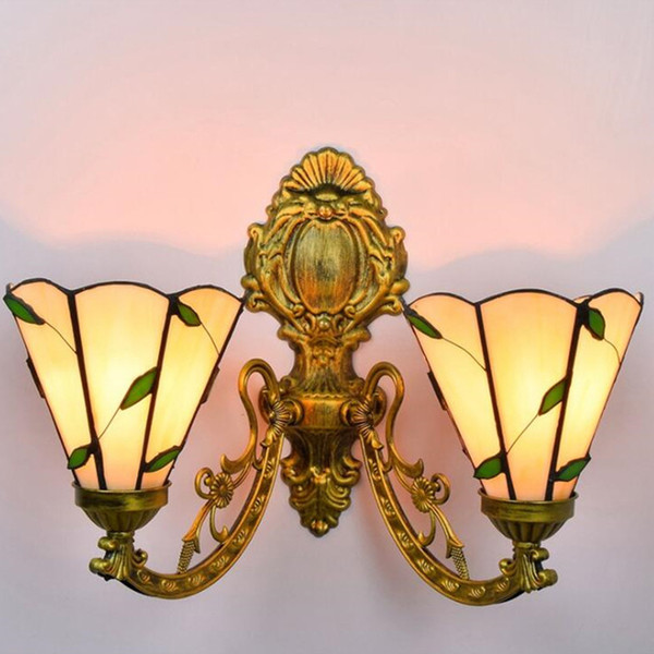 best selling Double-headed coloured glass wall lights dining room corridor glass wall lamp tiffany style leaf deco wall light TF010