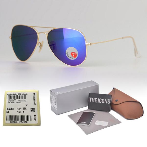 Marka tasarım Polarize Güneş Gözlüğü Erkek Kadın metal çerçeve pilot güneş gözlükleri Vintage gözlük plastik polaroid lens Perakende kutusu ve etiket Ile