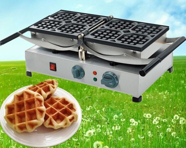 Stainless Steel Commercial Industrial Belgian Rotating Waffle Maker/Electric Rotating Waffle Making Machine For Sale