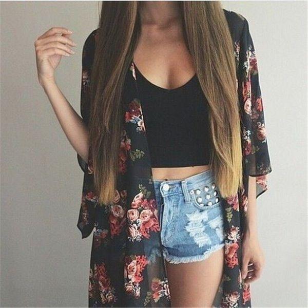 Frauen Casual Vintage Kimono Cardigan Damen Sommer lange häkeln Chiffon Kimono Preto lose Flora gedruckt Bluse Tops schwarz