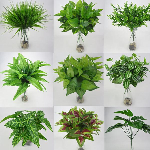1pc Artificial Flowers Green Grass Plastic Plants Fake Leaf Foliage Bush Home Wedding Decoration Party Supplies C19041701