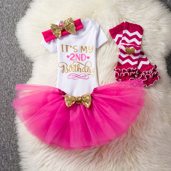 second 2nd birthday dress outfits infant party dress toddler baptism clothes tutu fluffy kids summer clothes dresses for girls