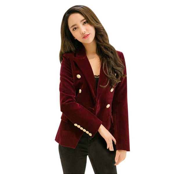 2018 Women Velvet Slim Long Sleeve Blazers Office Lady Formal Small Suit Jacket Blazers