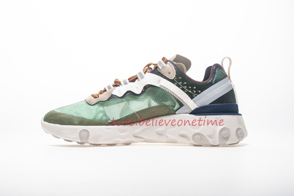 Undercover x React Element 87 Japan Green Mist Lino-Summit Bianco Uomo Donna Running Shoes Sport Casual Designer Sneakers Taglia Us 5.5-12