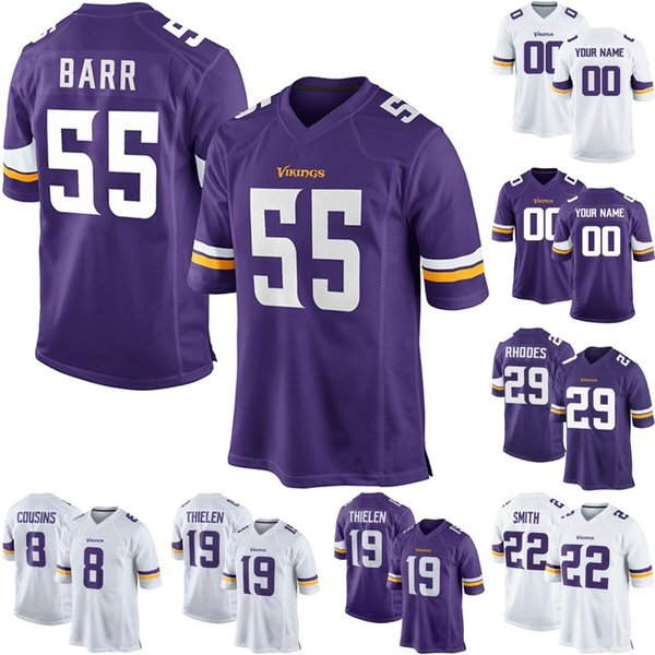 94f885e3 2019 Minnesota 55 Anthony Barr 8 Kirk Cousins 29 Xavier Rhodes 22 Harrison  Smith 19 Adam Thielen Jake Browning Ameer Abdullah Football Jersey From ...