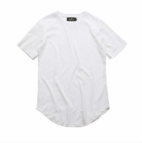 2019 gekrümmten Saum Hip Hop T-Shirt Männer Urban Kpop Erweiterte T-Shirt Plain Longline Herren T-Shirts Männliche Kleidung Großhandel