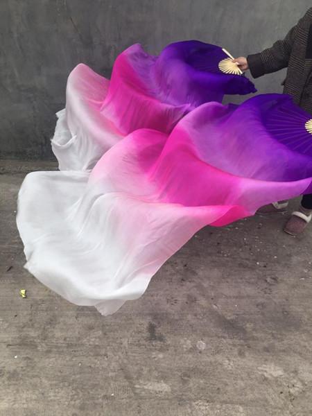 100% Silk Women New Belly Dance Fan Veils Gradient Color Purple White 1.8m