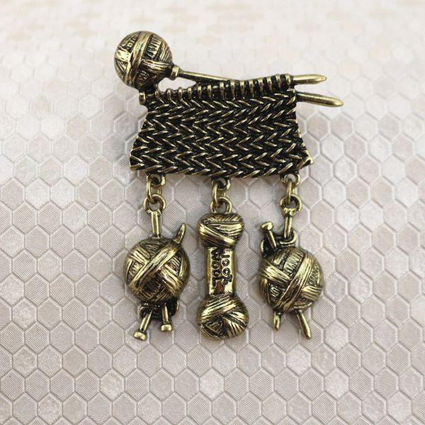 Vintage Sweater Metal Knitting Brooch Woolen Yarn Ball Brooch Suit Lapel Pin for Women Men High Quality