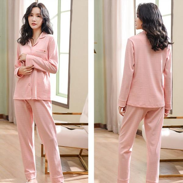 Moda 2019 Mulheres de Alta Qualidade Botão Tops Conjuntos de Pijama Primavera Outono Manga Longa Luz Xadrez Casuais Sleepwear