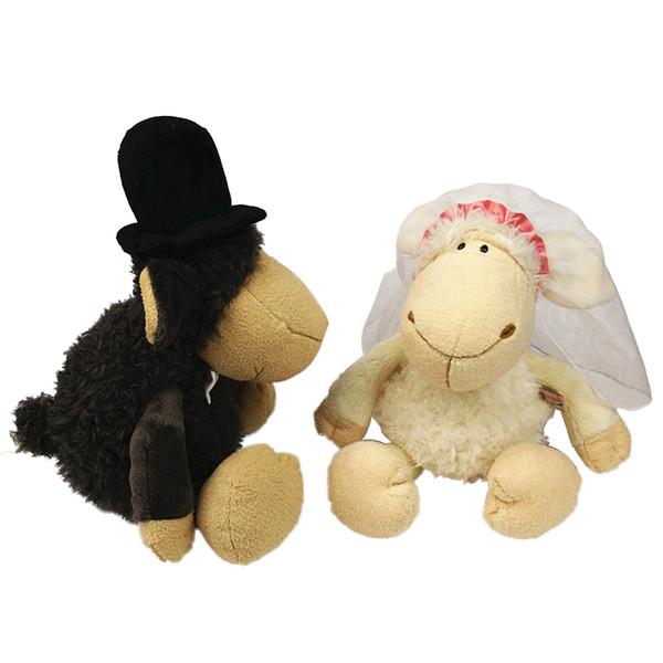 Vestido de novia de las ovejas rellenos de la muñeca de la felpa Animales regalos de niños de los niños juguetes de peluche suave Gallo de cumpleaños lindo Juguetes Decoración de Navidad nuevo 333