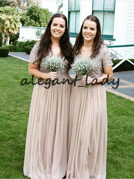 Plus Size Sequins Long Bridesmaid Dresses with Sleeves 2019 V-neck Full length Country Junior Maid of Honor Bride Reception Gown