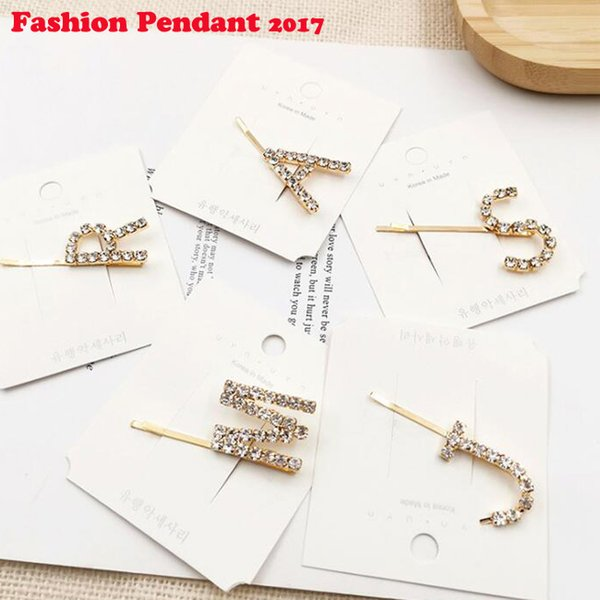New arrival Fashion women letter crystal hairpins girl's lovely hair clips sweet Hair accessories bangs clips cute headwear