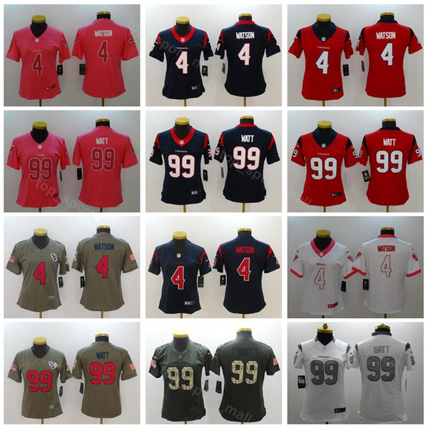 new product f96ce c6735 Houston Football Texans Women Jerseys 4 Deshaun Watson 99 JJ ...