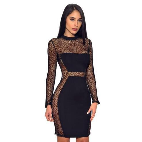 Hot Sale Women Sexy See Through Lace Dress 2019 Back Zip Long Sleeve Mini Dress Spring Black Party Club Pencil Dress White Dress Party Dresses For