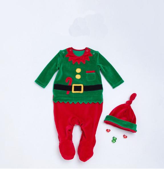 Ins Noël salopette de bébé avec un chapeau de bébé Filles Garçons Romper 95% coton enfants Tout-petit bateau libre