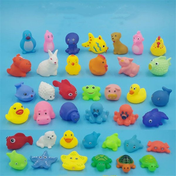 Free Shipping reloj Baby Bath Toys Shower Water Floating Squeaky Yellow Ducks Cute Squeezing Animal Baby Shower Toys Rubber Water Toys