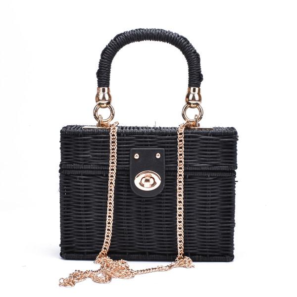 New rattan black straw Shoulder Bag Women hand-woven Messenger Bag Summer Beach Square box Straw Handbag For lady Bolsa Feminina Y190606
