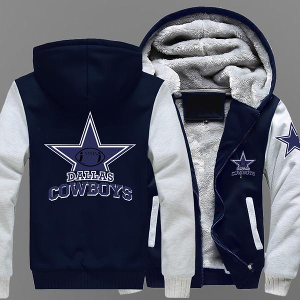 Wintermantel der heißen neuen Männer Cowboy Dallas Team Reißverschluss Jacke Sweatshirts Brief Druckmuster verdicken Fleece Hoodie Männer Mantel