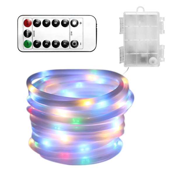 5M 100led Battery box transparent solid tube With remote control 8 function Christmas light string outdoor decoration light waterproof light