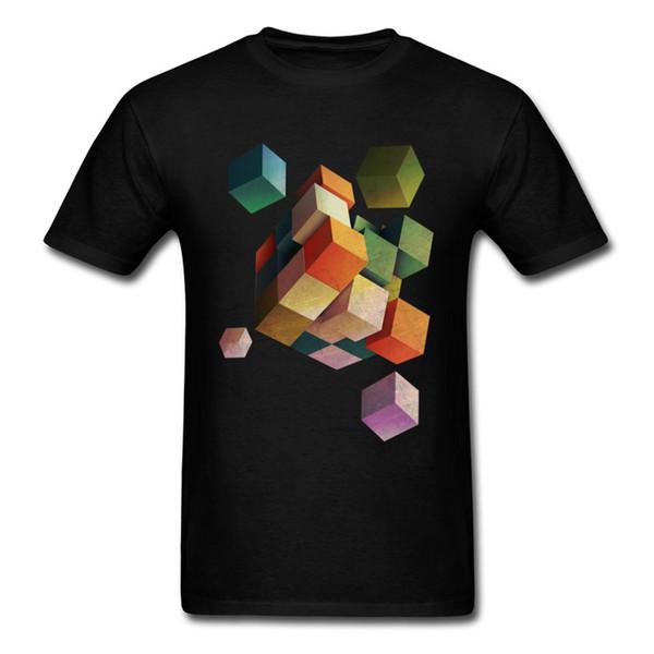 Deadly Box 2018 Männer T-shirt Verstreut Rubiks Cube Print Schwarzes T-shirt 3D Geometrische Muster Design Baumwolle Tops Tees