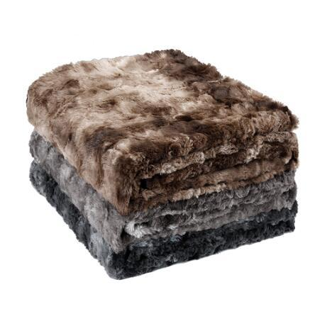 Faux Fur Fleece Blanket Throw Lightweight Portable Soft Blanket Machine Washable For Home Car Office Chair Plane Camping