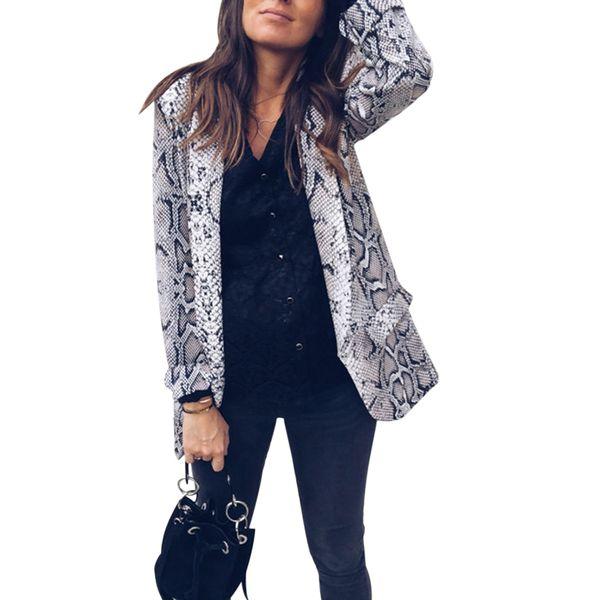 Leopard Snake Print Blazer Women Jacket Fashion Long Sleeve Blazers Coat Cardigan Elegant Office Ladies Tops Work Outwear Suits