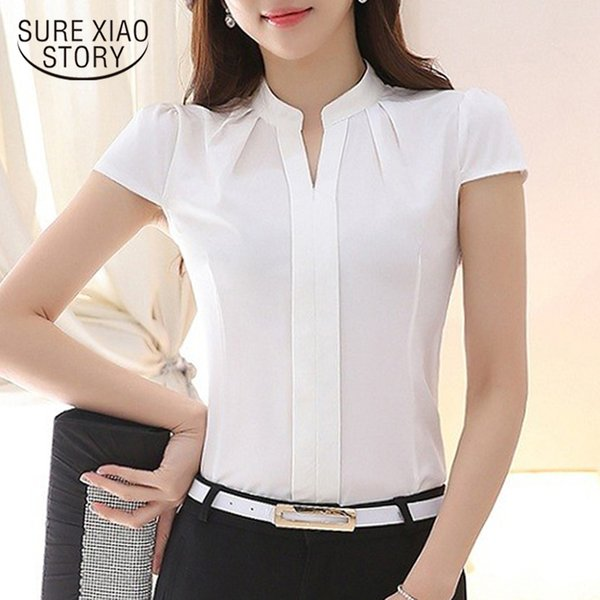 2019 women solid color blouse shirt ladies slim fashion summer elegant casual tops clothes 861B