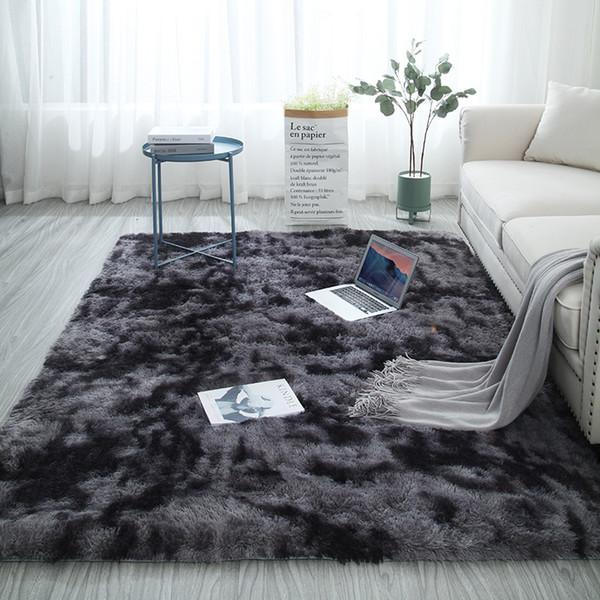 European Long Hair Fashion Bedroom Carpet Bay Window Bedside Mat Washable  Personality Blanket Gradient Color Living Room Rug Carpet Tiles Design ...