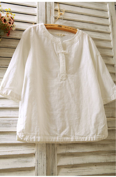 top popular new spring and summer cotton and linen women's shirt seven-point sleeves linen buckle long-sleeved loose national wind short-sleeved T-shir 2019