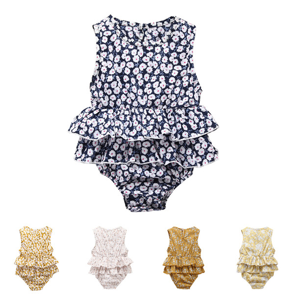 Baby romper summer floral print baby girls romper suits kids ins flower sleeveless triangle rompers newborn baby girl clothes DHL FJ102