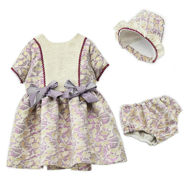 Baby Girls Dress Elegant Royal Toddler Jacquard Pattern Christening Baptism Dresses with Hat and Underwear High Quality Girl Clothes