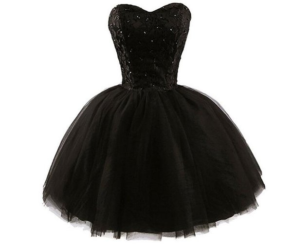 Sweetheart Litter Black Prom Dresses New 2019 Top Lace Applique Sequins Beads Strapless Mini Homecoming Dress Sexy Cocktail Party Wear Cheap