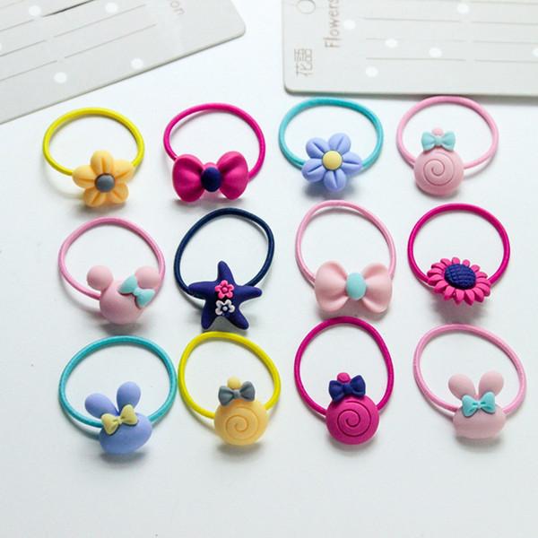 Nueva banda de goma de los niños coreanos anillo de pelo banda de dibujos animados bebé pelo cuerda cabeza accesorios
