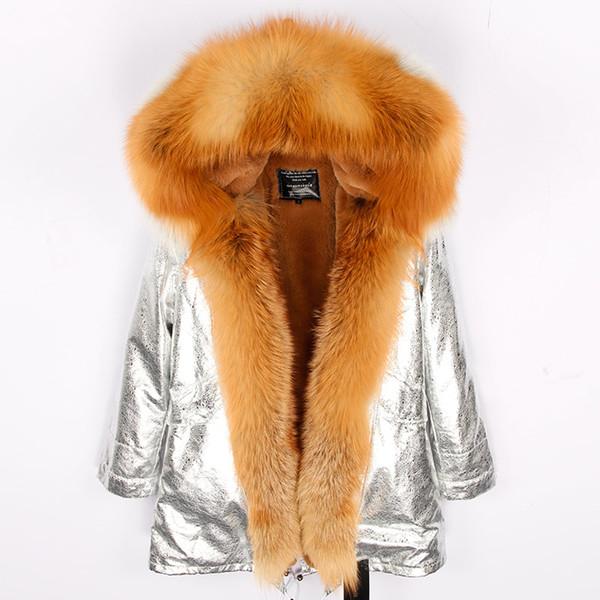 2019winter mujeres de la moda de marca abrigo grande verdadero cuello de piel de zorro gruesas parkas de línea caliente con capucha largo invierno de la chaqueta streetwear nueva SH190922