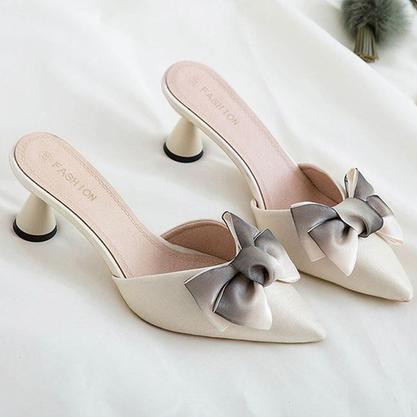Designer Dress Shoes Luxury Brand Women High Heels Mules Pointed Toe Bow Tie Slip On Women Slippers Female Nude Pink Plus Size 34 39 40