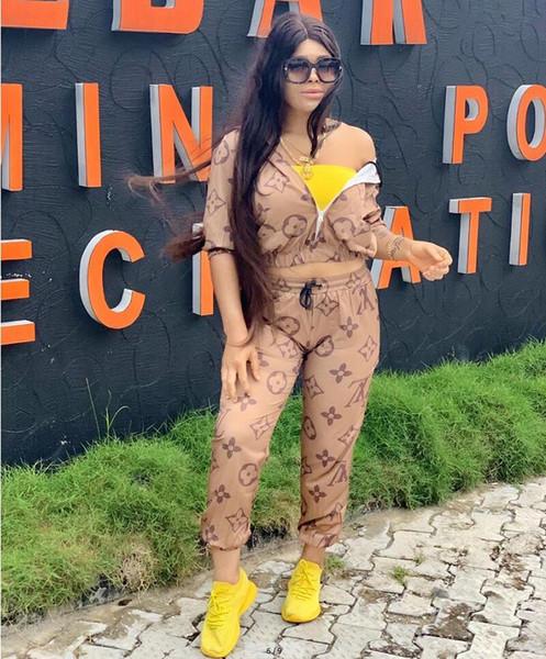 Haki Mektup Baskı Iki Parçalı Set Eşofman Kadın Uzun Kollu Ceket ve Pantolon Eşofman 2 Parça Kıyafetler Eşleşen Setleri Spor suit