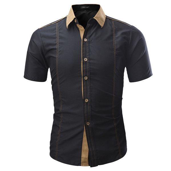 Brand 2019 Summer Hot Sale Fashion Male Shirt Short-sleeves Tops Solid Color Mens Dress Shirts Slim Men Shirt Plus Size 4xl