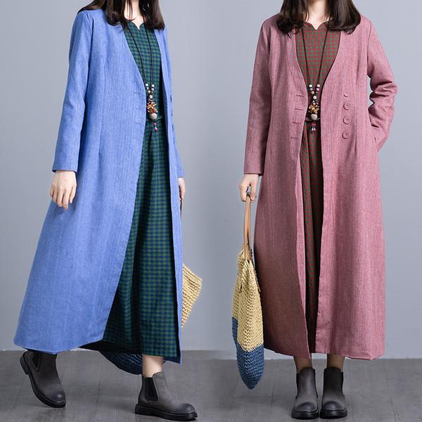 2018 Autumn Winter Vintage Cotton Linen Cardigan Long Coat Ladies Casual Pockets Dress Plus Size Trench Coat for Women