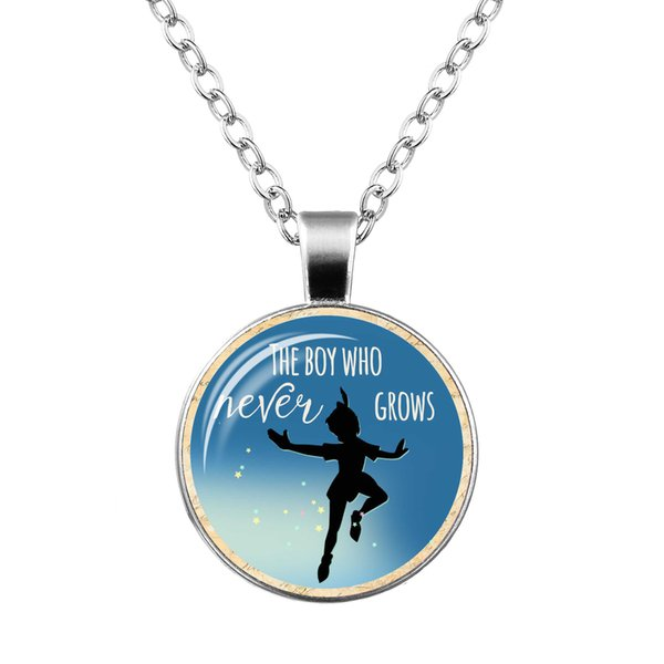 2019 cross-border explosion pendant Peter Pan time gemstone glass pendant necklace Foreign trade jewelry 10 pieces from wholesale
