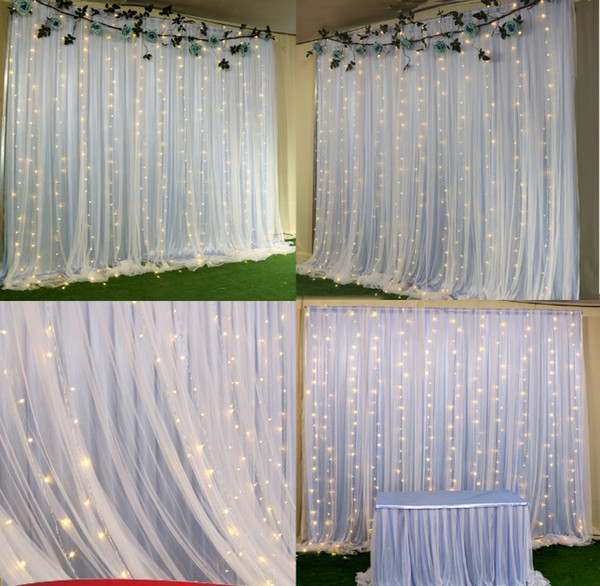 2 Layers Colorful Wedding Backdrop Curtains With Led Lights Event Party  Arches Decoration Wedding Stage Background Silk Drape Decor 3M X 3M Diy ...